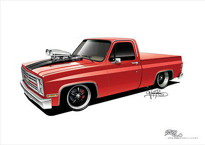 1987 Chevy C10 Poster A3 420x297mm **concept drawing** print