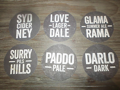 6 Different SYDNEY BREWERY N.S.W. ,collectable COASTERS