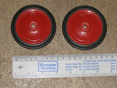 Pair plastic toy wheels 80mm diameter