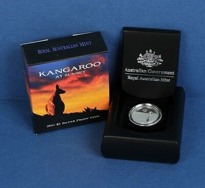 Australia: 2011 $1 Kangaroo at Sunset Silver Proof, boxed