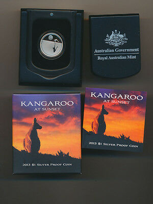 Australia: 2013 $1 Silver Proof Kangaroo at Sunset  Cased.