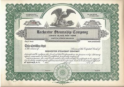 Rochester Steamship Company (Grand Island,ny).....unissued Stock Certificate