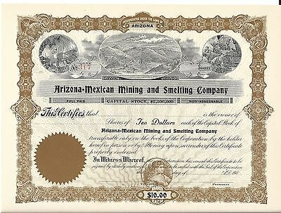 Arizona-Mexican Mining And Smelting Company....early 1900's Unissued Stock Cert