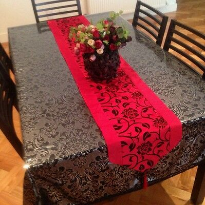 New Red Black Faux Silk Table /Bed Runner Party Wedding Dinning Christmas Decor