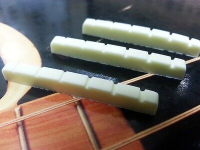 Lot of 3 Urea Resin Plastic Guitar Nuts For Strat Tele 43mm - Aged White