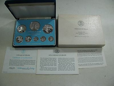 402| Coinage of Belize Sterling Silber Münzen Set 1979 Proof by Franklin Mint