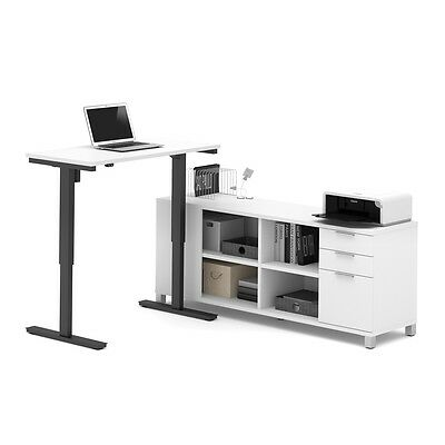 Bestar Pro-Linea L-Desk including Electric Height Adjustable Table in White