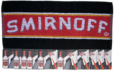 SMIRNOFF VODKA  Pub Bar Towel & 10 matching Beer Mat Coasters