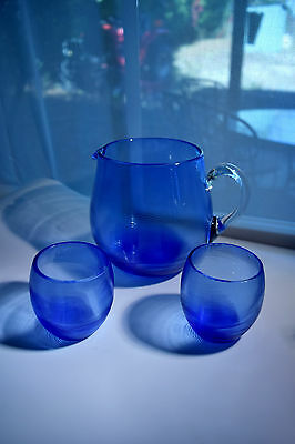 Art Glass 3 Piece Cocktail Set Colbalt Blue Pitcher and 2 Glasses