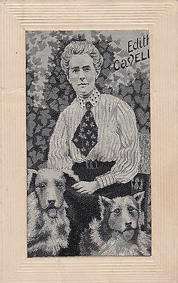 WW1, Printed Silk, Edith Cavell, old postcard, unposted