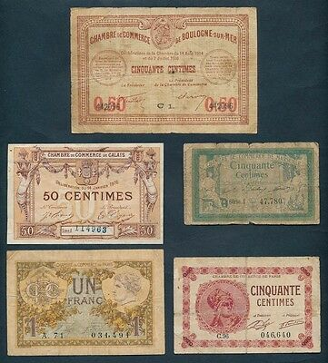 "France: LOCAL ISSUES WWI 1916-1920 COLLECTION of 5 different ""Bon Pours"""
