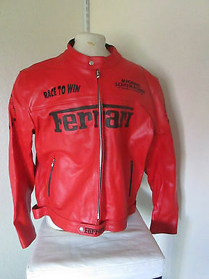 Custom Made Ferrari Leather Racing Jacket w/Padded Elbows/Shoulders 2XL