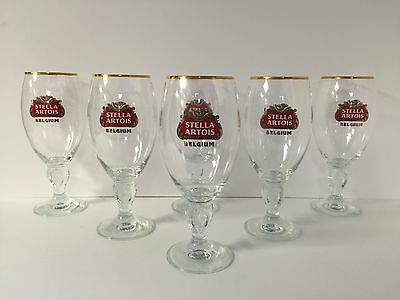Stella Artois 50 cl Glass Chalice BELGIUM Beer ~ NEW ~ Set Of Six (6) Glasses