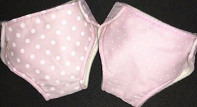 """2 Baby born Reborn Baby Annabell Re-usable Nappies 15-18""""Dolls Clothes Outfit"""