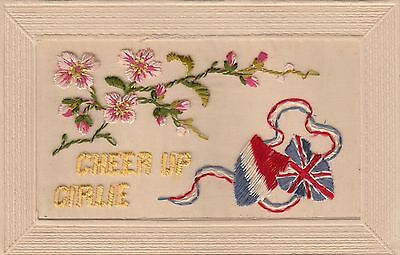 WW1, Embroidered Silk, 'Cheer up Girlie', old postcard, written, not posted