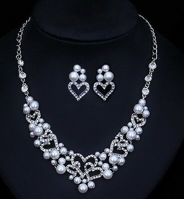 Bridal Wedding Party Necklace Earring Bracelet Set Ivory Pearl Crystal