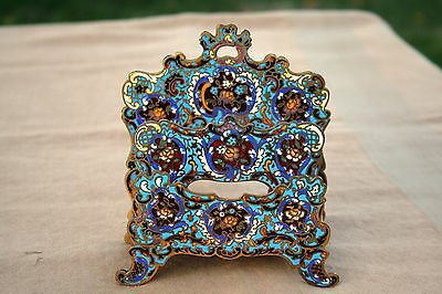ANTIQUE FRENCH ENAMEL BRONZE ART NOUVEAU CLOISONNE RACK DESK LETTER HOLDER 19thC