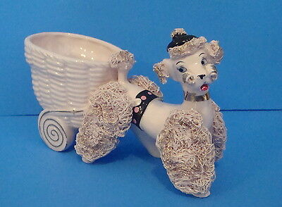 Mid-Century Spaghetti Poodle Planter, white, pink with black hat