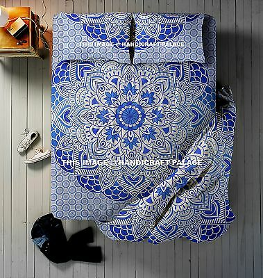 Blue Ombre Indian Mandala Queen Size Quilt Duvet Doona Cover With Bedspread 4 PC