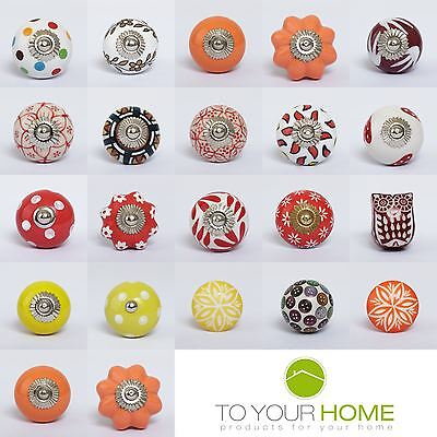 Red Orange Gold Ceramic Door Knobs Handles Furniture Drawer Pulls Cupboard