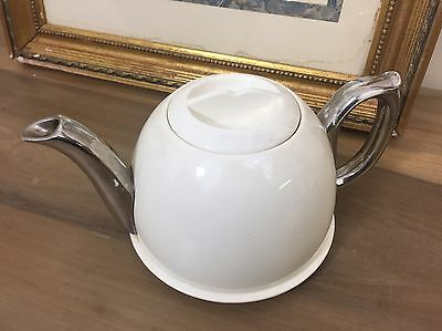 Mawston Tea Pot/ Teapot Ivory Colour With Silver Colour Handle Unusual Shape
