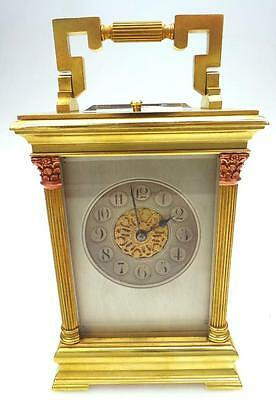 Antique Repeat French 8 Day Ormolu Bronze & Glass Repeating Carriage Clock
