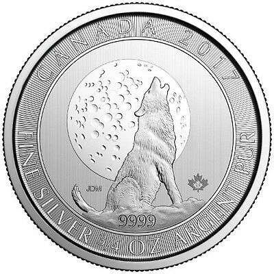 2017 Canadian Wolf Series Wolf Moon 3/4 oz .9999 Silver  Coin