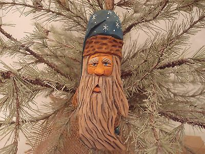 """6"""" Hand Carved Basswood Heirloom Traditional Blue Robe Santa  Tree Ornament"""