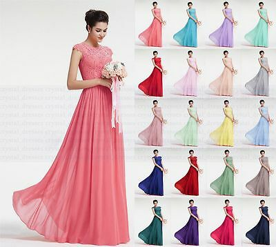 Long Chiffon Lace Evening Formal Ball Gown Party Prom Bridesmaid Dress Size 6-18