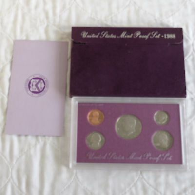 USA 1988 s 5 COIN PROOF YEAR SET - sealed/outer/coa
