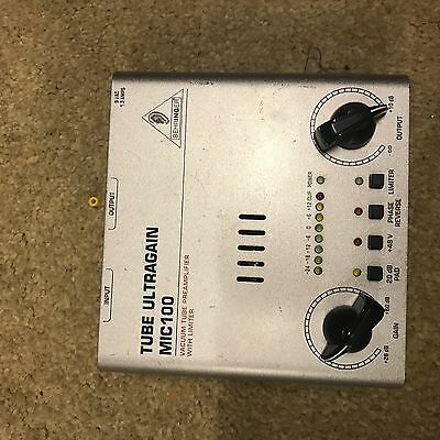 behringer Tube Pre Amp Tube Ultra Gain Mic 100