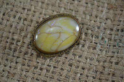 ANTIQUE VINTAGE Edwardian Italian aventurine yellow opaline glass brooch