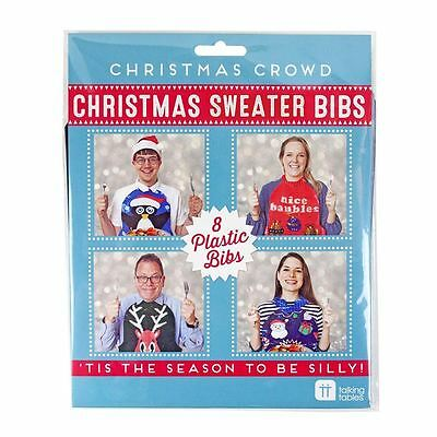Set 6 Ugly Christmas Jumper Sweater Xmas Fun Bibs Dinner Table Novelty Plastic