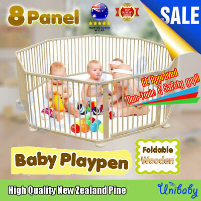 OZ Baby Kids Toddler Deluxe Natural Wooden Playpen Divider Safety Gate 8 Panel