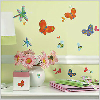 Butterflies, Dragonflies Jelly bugs Roommates Peel & Stick Movable Wall Decals