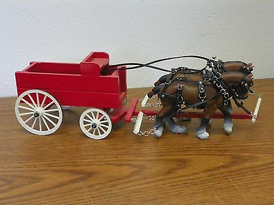 BREYER Schleich Drafts Clydesdale Drafter Pair Full Leather Harness & Wagon Set