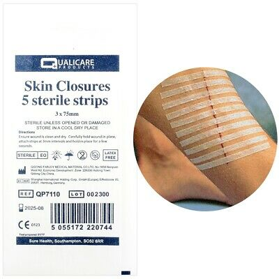 5x STERILE WOUND/CUT 3mm x 75mm CLOSURE STRIPS CE APPROVED Skin Butterfly Stitch