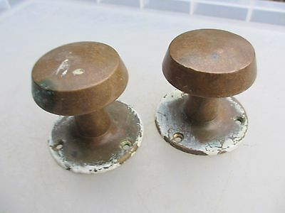 Vintage Bronze Door Knobs Handles Architectural Reclaim Plates Brass Old 1955
