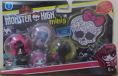 Monster High ~ Minis Doll 3 Pack ~ Clawdeen Wolf, Abbey Bominable & Catty Noir