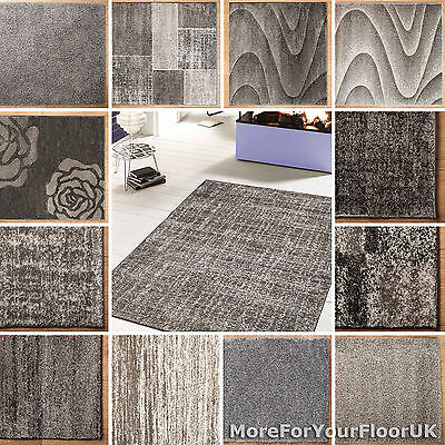 Grey Rugs Multi Size, Patterned & Plain Grey Rug Thick Soft Modern & Traditional