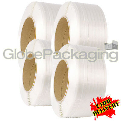 4 x 3000M WHITE MACHINE POLYPROP PALLET STRAPPING COILS REELS 12mm *24HR DEL*