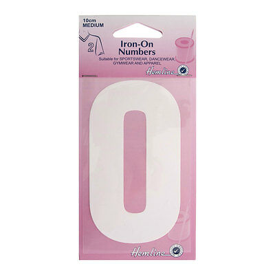 Hemline Iron-On Number , Suitable for Sport, dance, and Gym Wear | 10cm