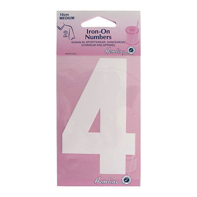 Hemline Iron-On Number 4 Suitable for Sport, dance, and Gym Wear | 10cm