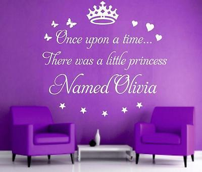 v20 Once upon a  time personaized princess girl name wall art Sticker Decal