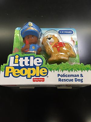 Fisher Price Little People AA Police Man Police Dog Policeman New Rescue
