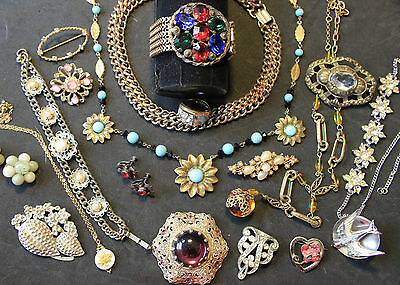 Vintage Jewelry Lot Art Deco to Mid-Century Czech Glass, Gold, Sterling, Signed