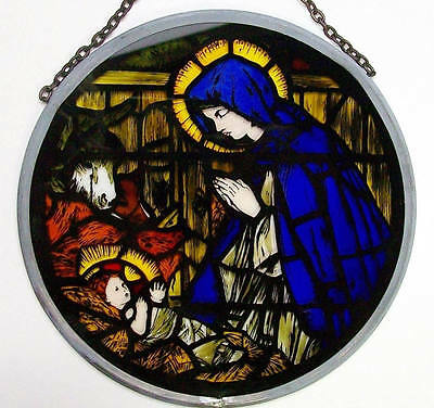 """MADONNA AND CHILD Canterbury Cathedral Stained Glass 6"""" Round Repro Winged Heart"""