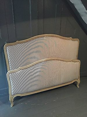 Antique French upholstered double bed shabby chic