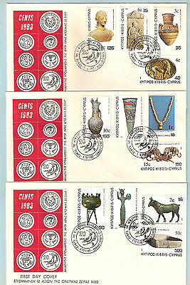 CYPRUS 1983 DEFINITIVE STAMPS SURCHARGE IN CENT COMPLETE SET 12V.NICE UN/AL FDCs