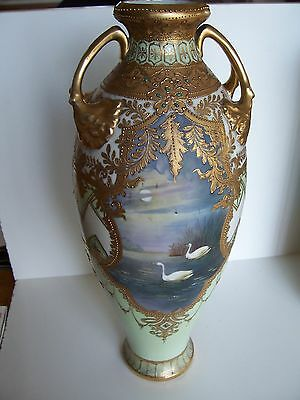 Antique Nippon Porcelain Vase with Geese 15.5""